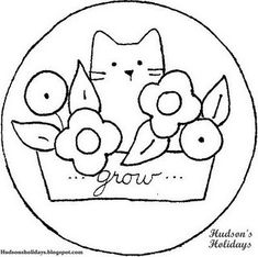 Free pattern. Cute basic pattern, plus planter makes as 'frame' for words.  Free garden cat embroidery pattern, by natalia
