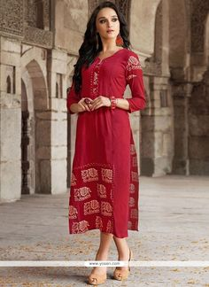 Rayon Red Party Wear Kurti