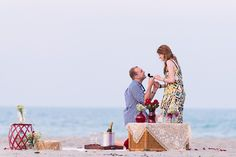 This beach proposal is complete with the most flawless, picture-perfect setup.
