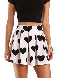 Heart Print Pleated Skater Skirt #charlotterusse #charlottelook