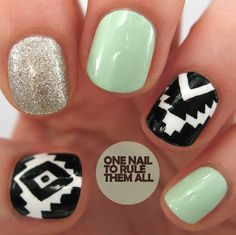 nails - Tutorial Tuesday: Glitter Aztec Nail Art - One Nail To Rule Them All Get Nails, Fancy Nails, Love Nails, How To Do Nails, Hair And Nails, Style Nails, Aztec Nail Art, Aztec Nails, Gorgeous Nails