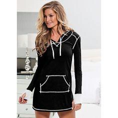 Venus Hooded Sleep Dress ($22) ❤ liked on Polyvore featuring intimates, sleepwear, nightgowns, cotton nightgown, cotton nightie and cotton sleepwear