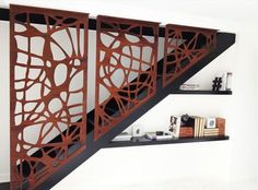 Funky Laser cut screen detail on stairwell. These screens are so useful to an Interior Designer Laser Cut Screens, Laser Cut Panels, Metal Panels, Metal Railings, Stair Handrail, Garde Corps Metal, Corte Plasma, Plasma Cnc, Laser Cut Steel