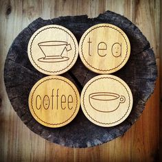 Coffee / Tea Coaster, Wooden Coaster, Timber Home Decor, Coffee, Tea, Quirky Design, Cute Gift, Drinks Coaster, Drinks Accessories, Magnet
