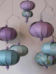 Hanging mobile in teal and purple with gorgeous purple beads that sparkle