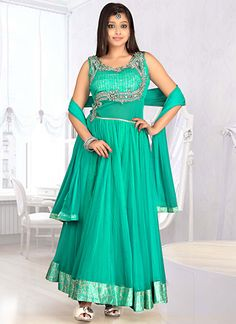 Zesty Turquoise Ankle Length Anarkali Suit