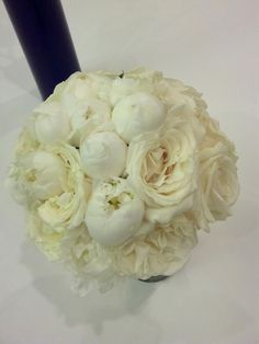 White peony and white garden rose bridal bouquet by Dream Designs Florist, via Flickr