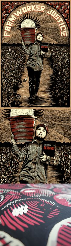 Farmworker Justice - JustSeeds Artist Cooperative Cesar Chavez, Help The Poor, Printmaking, Posters, Graphics, Book, Illustration, Artist, Visual Arts
