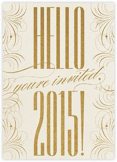 happy new year filigree 2015 invitation