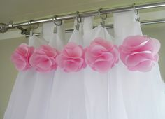Pink Pom Pom ruffle curtains for baby nursery or girls room  #Nursery #Baby Curtains