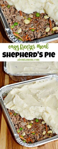Freezer Friendly Shepherd's Pie This freezer-friendly Shepherd's Pie recipe is affordable and easy-to-prepare. It's a great make-ahead freezer meal that the whole family will enjoy. You seriously can't go wrong with this easy meat and potatoes dish. Best Freezer Meals, Freezer Friendly Meals, Make Ahead Freezer Meals, Easy Meals, Freezer Recipes, Freezer Cooking, Meals To Freeze, Make Ahead Casseroles, Hamburger Freezer Meals