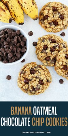Banana Oatmeal Chocolate Chip Cookies Are Made With Mashed Banana, Making The Cookies Sweet And Moist Without Adding A Lot Of Butter. Kids And Adults Love These Soft And Chewy Banana Oatmeal Cookies! #banana #cookies #oatmeal #oatmealcookies #chocolatechip