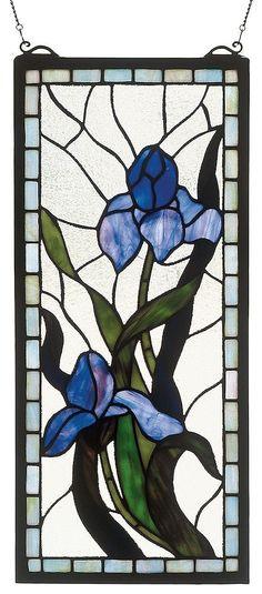 Iris Nostalgia Rectangular Stained Glass Window | 9x20 inches