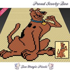 Proud Scooby-Doo crochet blanket pattern; c2c, knitting, cross stitch graph; pdf download; no written counts or row-by-row instructions by TwoMagicPixels, $3.79 USD
