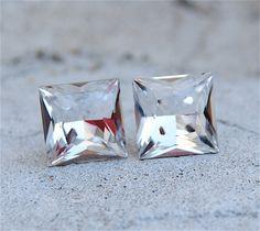 Princess Cut Studs - Swarovski Crystal Clear DIamond Earrings - Mashugana