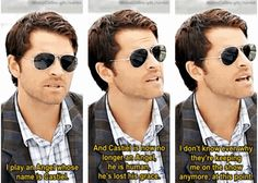 Just another Misha Collins interview. #ComicCon2013 (Sidenote: What's with the uncoordinated clothes, Misha? Oh, wait, you're Misha.)