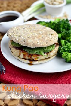 Kung Pao Chicken Burgers via @Iowa Girl Eats
