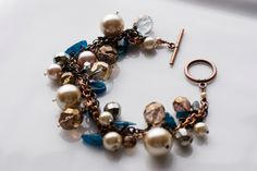 Chunky charm bracelet  pearl taupe and blue by mysteryandmanners