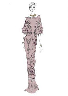 Fashion illustration - fashion design sketch of a model in a long printed dress // Alessandra Facchinetti