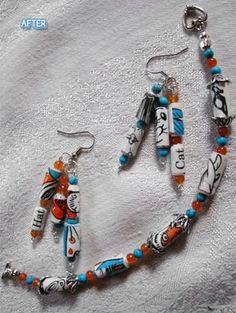 This jewelry is made out of a worn out Cat in the Hat book.  Love it!