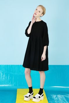 Textured Round Collar Smock Dress Black http://www.thewhitepepper.com/collections/dresses