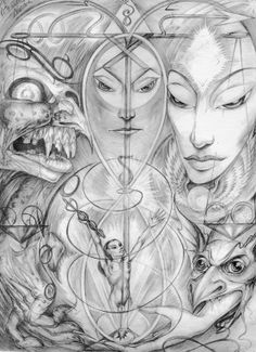 """Rosaleen Norton's """"Esoteric Study"""" (Plate XII - The Art of Rosaleen Norton) Drawing Blood, Life Drawing, Rosaleen Norton, Occult Art, Australian Artists, Book Of Shadows, Magick, Witchcraft, Figurative Art"""