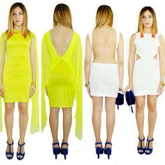 Neon & white open back mini dress by:Oseas Villatoro