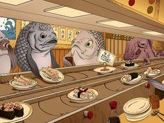 Fish eating humans cartoon perspective