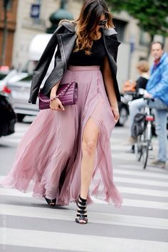 go long. #EleonoraCarisi in Paris. Long skirt with slit and black leather jacket.