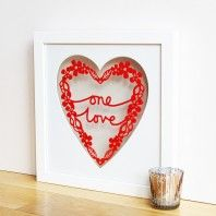 'One Love' Papercut Valentine Art Frame Valentines Day Messages, Valentines Art, Valentine Day Gifts, Gold Foil Print, Valentine's Day Quotes, Romantic Gifts, Personalized Wedding Gifts, Wedding Anniversary Gifts, Paper Cutting