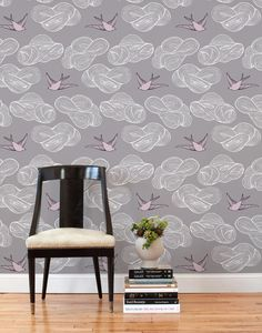 This removable wallpaper tile is designed by Julia Rothman in Brooklyn and printed in Chicago on a matte, polyester wall fabric.