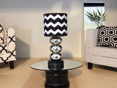 Chevron Doll Lamp, Black/white,dollhouse Furniture