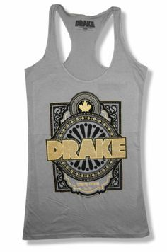 "DRAKE ""MAPLE LEAF"" GOLD INK GREY RACERBACK TANK TOP NEW OFFICIAL JUNIORS RAPPER"