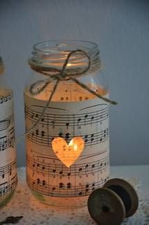 10 Vintage Sheet Music Glass Jars - Wedding Decorations Candles | 1018464921