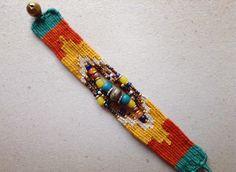 Needle Weaving Bracelet. Pin Weaving, Weaving Art, Beaded Cuff Bracelet, Bead Loom Bracelets, Gypsy Jewelry, Beaded Jewelry, Fiber Art Jewelry, Weaving Designs, Weaving Textiles