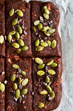 Raw Energy Bars *dates, almonds, hazelnuts, chia seeds, cocoa nibs, cacao powder, pumpkin seeds, dried coconut
