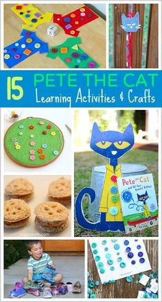15 Pete the Cat inspired learning activities and crafts including math games, fine motor practice, snacks inspired by the books, and more! Great activities for preschool and kindergarten! Preschool Literacy, Preschool Books, Kids Learning Activities, In Kindergarten, Preschool Crafts, Preschool Activities, Crafts For Kids, Preschool Shapes, Children Crafts