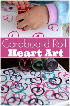 """Stamping Hearts with Cardboard Rolls is a fun and easy way for kids to make Valentines art or """"heart art"""" for any day! Repurpose an old canvas, and your child can display their custom art on a bedroom wall! Great print making activity for kids of all ages - Happy Hooligans"""