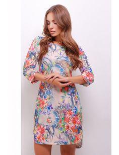 Стильное принтованное платье с разрезами на рукавах и снизу изделия, по спинке длиннее чем спереди. Хороший выбор для очаровательной леди. Рост модели на фото 169 см.