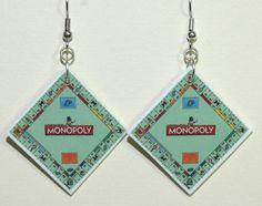 2 SIDED MINI MONOPOLY BOARD GAME DANGLE EARRINGS (D265) #Handmade #DropDangle