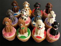 Cupcakes with Fondant Dog cakes hahaha Fondant Cupcakes, Puppy Cupcakes, Cupcake Cookies, Animal Cupcakes, Cupcake Toppers, Fondant Dog, Decorate Cupcakes, Fondant Animals, Cupcakes Design