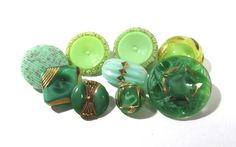 Green Glass Buttons Moonglow Luster West Germany VINTAGE Buttons Nine (9) Assorted Vintage Buttons Wedding Jewelry Sewing Supplies (L176) by punksrus on Etsy