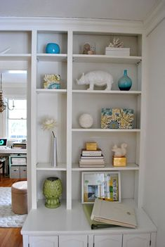 Young House Love | The Challenge: Reducing Bookcase Clutter | http://www.younghouselove.com