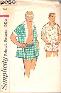 "Vintage 1957 Simplicity 2080 Men's Beach Set, Shirt & Swim Shorts Sewing Pattern Size Small Chest 34"" - 36"" by Recycledelic1 on Etsy"