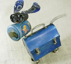 Hij is zo leuk The True Blue Robot Dog Recycled Robot, Recycled Art, Found Object Art, Found Art, Tin Can Crafts, Metal Crafts, Upcycled Crafts, Repurposed, Arte Assemblage