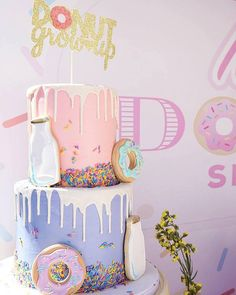 Donut Themed Milk Drip Cake from a Donut Shoppe Birthday Party on Kara's Party Ideas Donut Party, Donut Birthday Parties, Birthday Cake Girls, Birthday Celebration, Birthday Ideas, Party Party, Donut Birthday Cakes, 1st Birthday Themes Girl, Donut Cakes