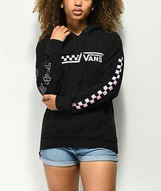 Vans Drop V Pink Checkerboard Black Hoodie