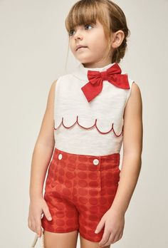 Summer Girls Spanish Outfit 2019. Red and White Perfect for Special Occasions, Christening, Wedding, Birthday Parties or Holidays. Shorts have an Adjustable Waist and the top has a lovely bow detail to it. Sizes 3-10YRS.   #summergirlsoutfits #girlsoutfits #summer #spanishboutique