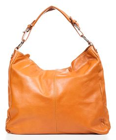Love this Cognac Leather Hobo Bag by Mila Blu on #zulily! #zulilyfinds