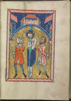 Images from the life of Christ - The tortures of Christ, Christ is flagellated - Psalter of Eleanor of Aquitaine (ca. 1185) - KB 76 F 13, folium 022r.